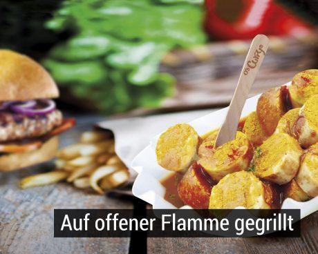 O's Kult-Currywurst, raffinierte Burger-Kreationen und frische Pommes Frites